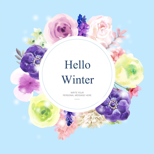 Watercolor winter bloom card with floral theme