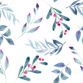 Watercolor winter blue branches seamless pattern