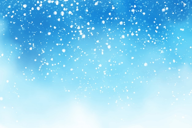 Watercolor winter blue sky with falling snow flakes background digital painting illustration