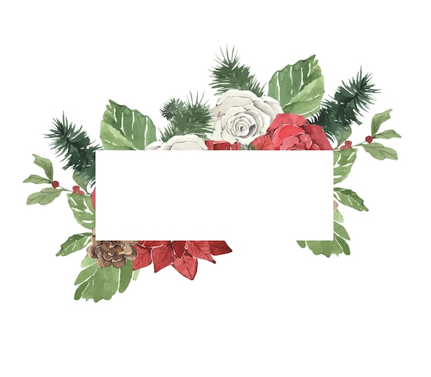 Watercolor winter christmas frame with pine needles and flowers