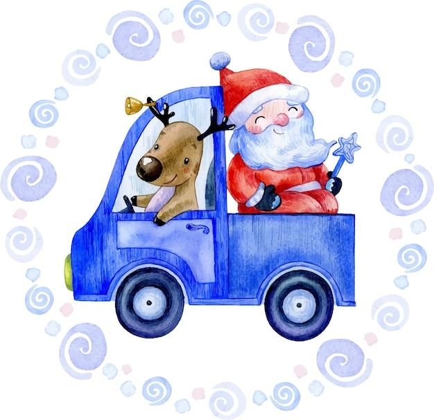 Акварельная зимняя рождественская иллюстрация санта-клауса с оленями в синей машине