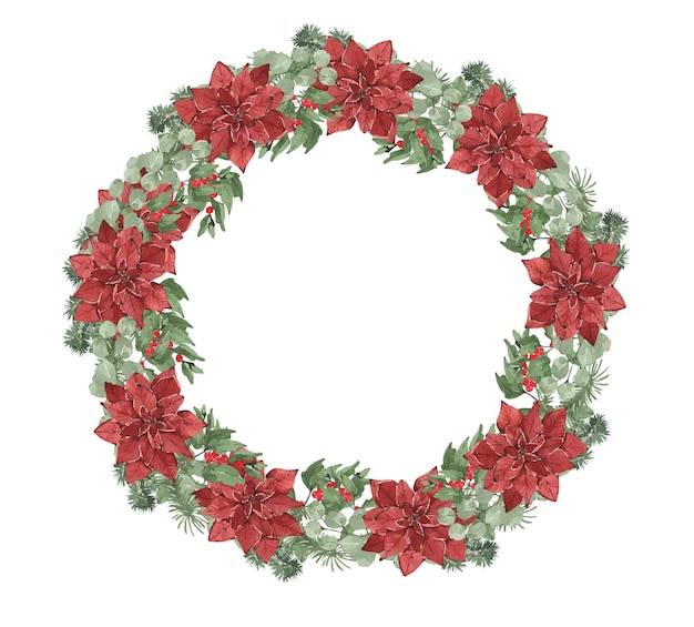 Watercolor winter christmas round wreath with pine needles and red flowers