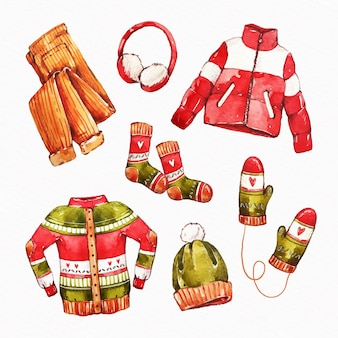 수채화 겨울 옷과 필수품