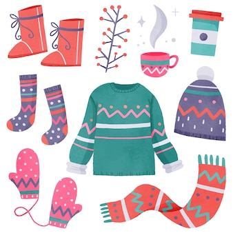 Watercolor winter clothes and essentials