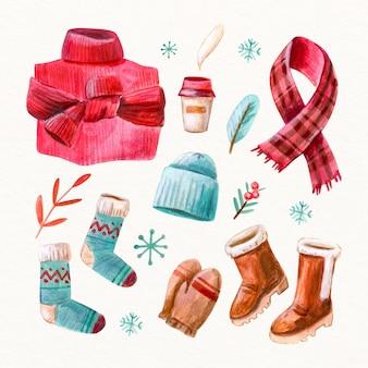 Vestiti invernali ed elementi essenziali dell'acquerello