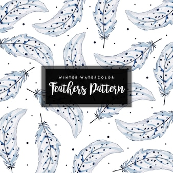 Watercolor winter feathers pattern background