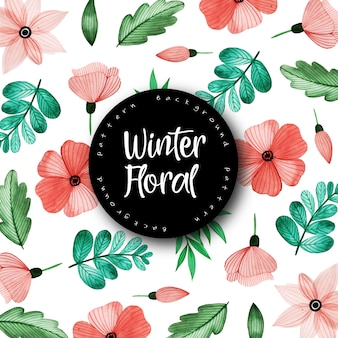 Watercolor winter floral and leaves pattern background