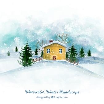 Акварельный зимний дом фона