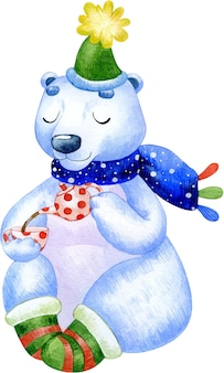 Watercolor winter illustration of a big polar bear in a hat and socks drinking tea