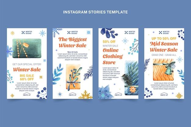 Коллекция акварельных зимних историй instagram