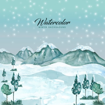 Watercolor winter landcape background