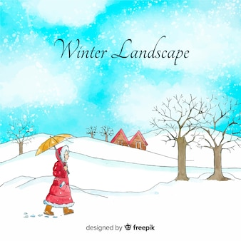 Watercolor winter landscape background