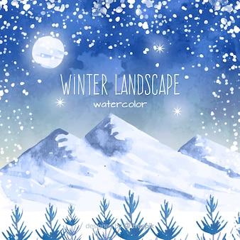Акварельный зимний пейзаж