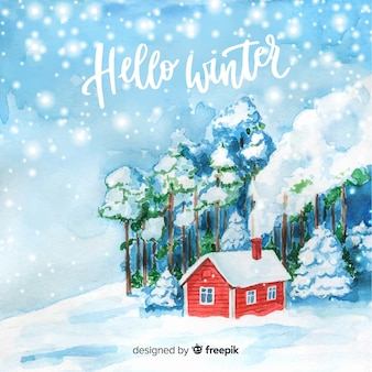 Watercolor winter landscape background