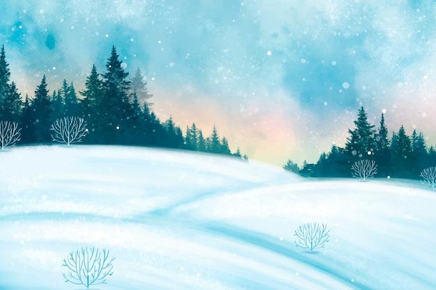 Акварель зимний пейзаж фон