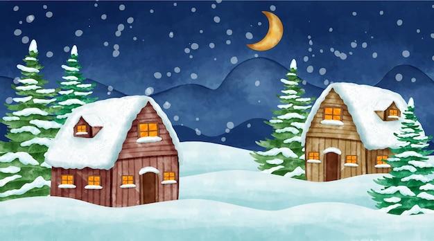 Акварель зимний пейзаж иллюстрация