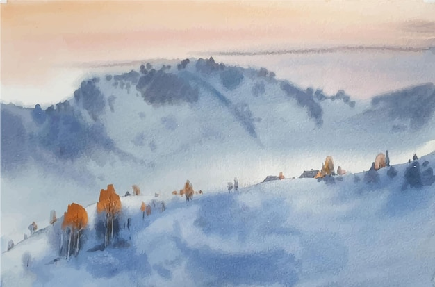 Watercolor winter landscape sketch in the mountains illustration