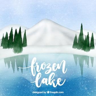 Paesaggio invernale ad acquerello con lago froken