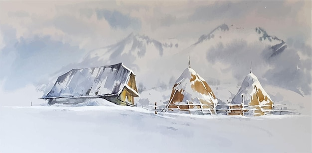 Watercolor winter landscape with a house painting