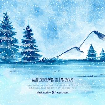 Акварельный зимний пейзаж с деревьями