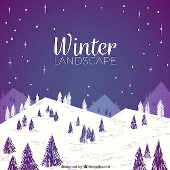 Acquerello paesaggio invernale