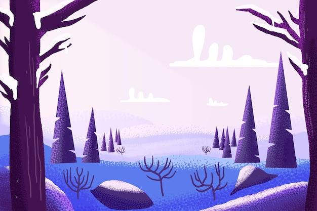 水彩の冬の風景