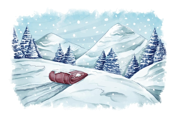 수채화 겨울 풍경