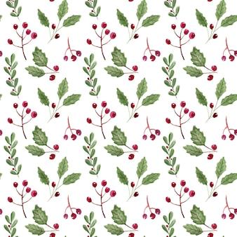 水彩の冬の葉とベリーのシームレスなパターン