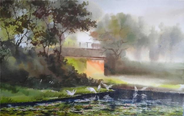 水彩冬の朝の自然手描き風景