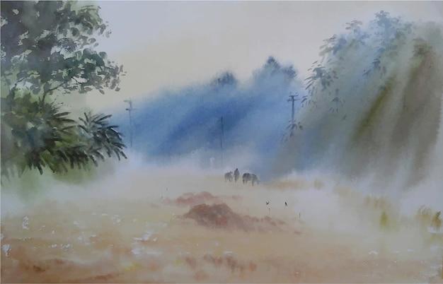 Акварель зимнее утро природа рисованной пейзаж