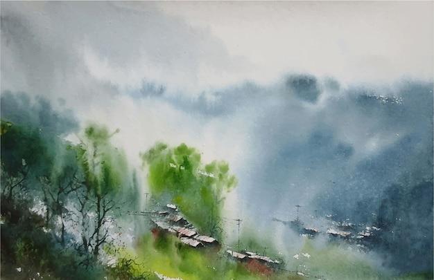 水彩冬の自然手描き風景