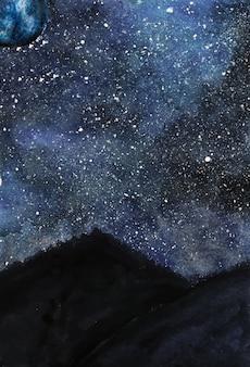 Watercolor winter night sky illustration