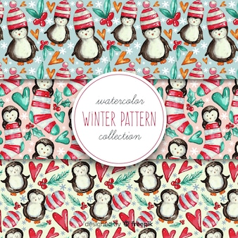 Watercolor winter pattern collection