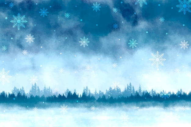 Watercolor winter scenery background