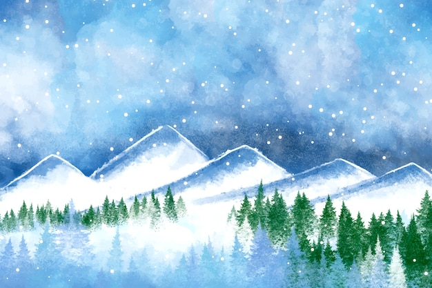 Watercolor winter scenery wallpaper