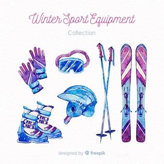 Watercolor winter sport equipment