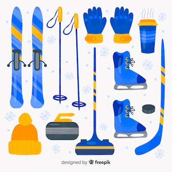 Watercolor winter sport equipment