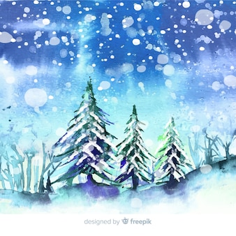 Watercolor winter town wallpaper