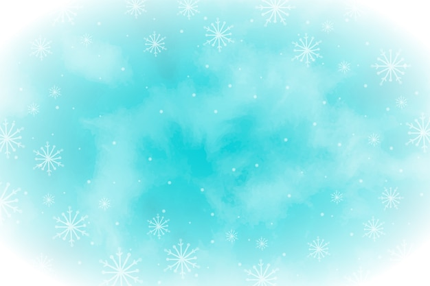 Watercolor winter wallpaper with empty space