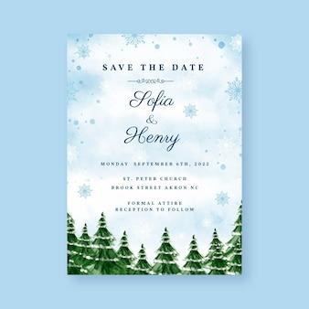 水彩冬の結婚式の招待状のテンプレート