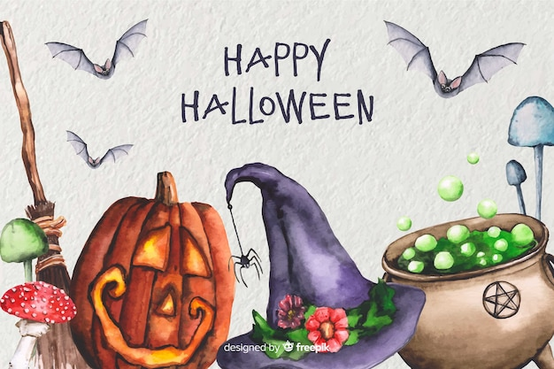 Watercolor witchcraft halloween background