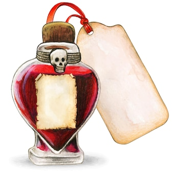 Watercolor witchcraft heart potion with skull and vintage labels