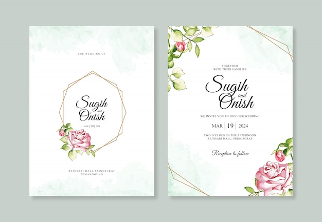 Watercolor with a geometric line for wedding invitation templates