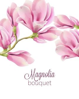 マグノリアの花の春の花束と水彩画