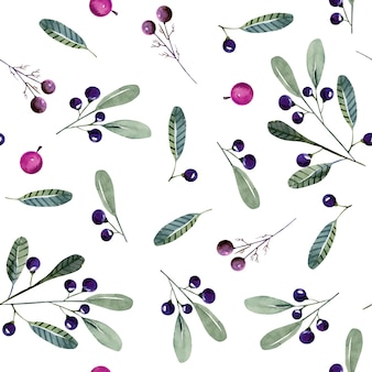 Watercolor wolf berries seamless pattern