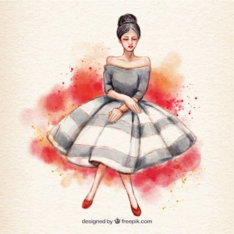 Watercolor woman with dress Free Vector