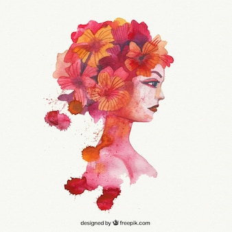 Watercolor woman with flowers in the hair