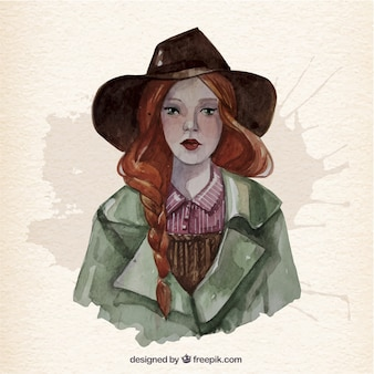 Watercolor woman with a hat Free Vector