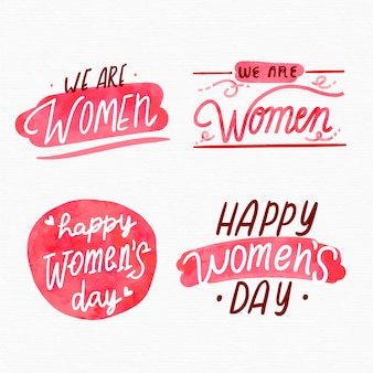 Watercolor women's day badge collection