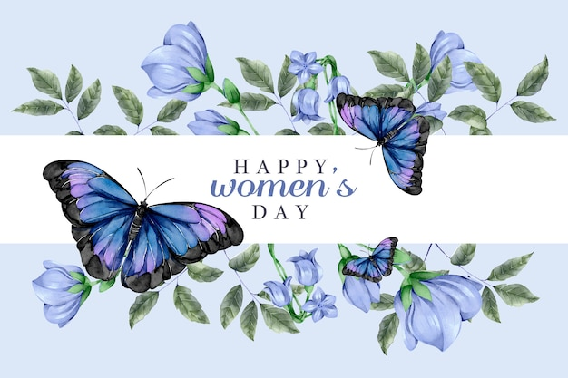 Watercolor women's day concept with butterflies Free Vector